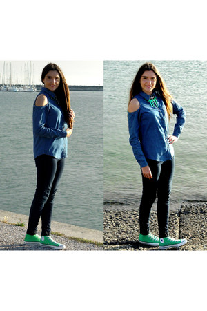 green Converse sneakers - denim shirt Primark shirt - dark denim Pimkie pants