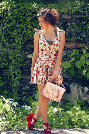 white OASAP dress - light pink MochiBeaucoup bag - red OASAP wedges