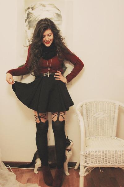 black Primark tights - brick red Zara sweater - black romwe skirt