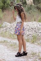 navy flower pattern Zara skirt - cream sheer Stradivarius shirt