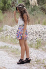 Cream-sheer-stradivarius-shirt-navy-flower-pattern-zara-skirt