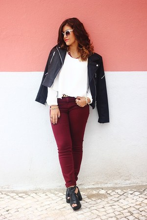 black leather Zara jacket - black cleated Chicwish shoes - white Zara blouse