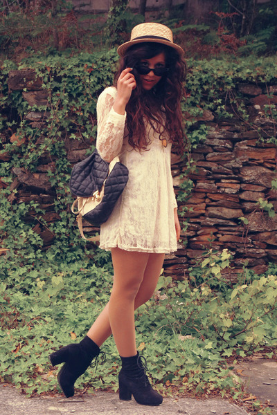 lace OASAP dress - Seaside boots - Primark hat - BLANCO bag - OASAP necklace