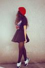 Ruby-red-bershka-hat-black-zara-man-t-shirt-black-romwe-skirt