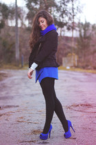 blue Parfois scarf - black little black Sheinside jacket - blue Sheinside shorts