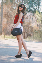 Chicwish shirt - romwe bag - Sheinside shorts - Zara wedges - rabbit zeroUV ring