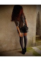 black leather shorts Stradivarius shorts - black Primark wedges - charcoal gray