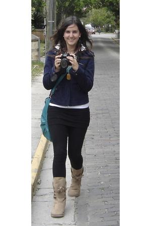 Forever21 leggings - Target purse - Forever21 necklace - jacket - boots - jacket