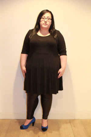 black Evans dress - black Evans leggings - blue Evans heels