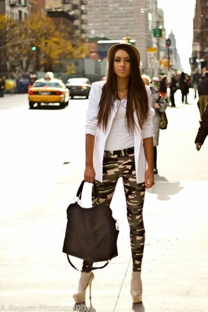 white blazer - black bag - white t-shirt - white gloves - white heels - pants