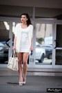 White-dress-off-white-bag-sunglasses-white-cardigan-gold-bracelet