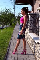 skirt - bubble gum sandals - hot pink top