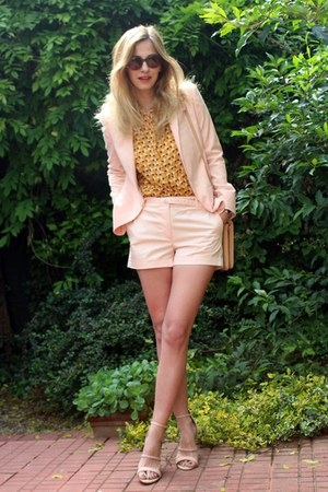 H&M shirt - light pink Topshop jacket - Moon purse - light pink H&M shorts
