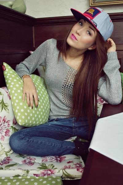 hat - Miss Sixty jeans - silver sweater - bracelet