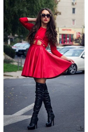 black boots - red dress - sunglasses