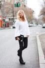 White-irenka-blouse-black-asos-boots-black-sparkles-zara-purse