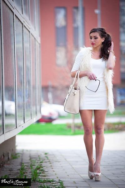 white dress - off white bag - sunglasses - white cardigan - gold bracelet