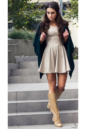 beige boots - off white dress - forest green cardigan