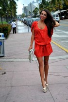 red romper - white bag - ivory heels
