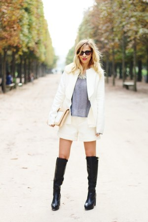 white Parlor by Veronica Zaharia jacket - black H&M boots - camel Moon purse