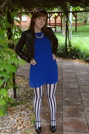 white striped tights tights - blue dress - black jacket - accessories