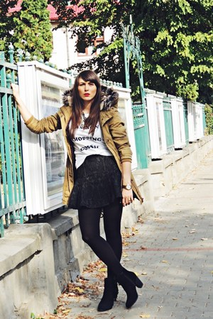 army green Zara skirt - black H&M boots - light brown Clockhouse C&A jacket