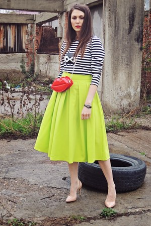 lime green Front Row Shop skirt - black Front Row Shop sweatshirt
