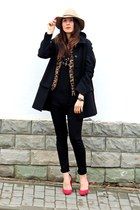 black Zara coat - red Zara shoes - black H&M jeans - black Zara shirt
