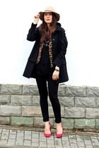 black Zara coat - red Zara shoes - black H&M jeans - black Zara shirt
