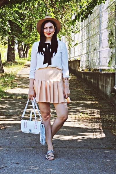 heather gray Zara shoes - light brown H&M hat - off white Zara shirt