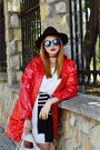 Red-rain-boots-oldcom-boots-blue-zaful-sunglasses-red-primark-cape