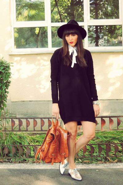 black Zara dress - silver shoes - black c&a hat - off white Zara shirt