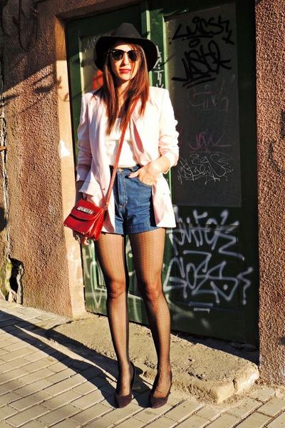 black Front Row Shop hat - light pink Front Row Shop blazer