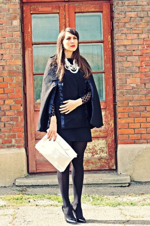 black OASAP dress - black Lovelyshoes cape - silver Zara necklace