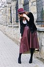 Black-asos-shoes-black-romwe-coat-brick-red-pimkie-hat