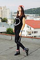 black Benventi boots - black Stradivarius leggings - black unknown blouse