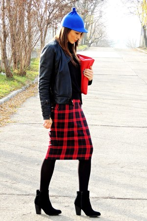 ruby red tartan custom made skirt - black H&M boots - black leather Mango jacket