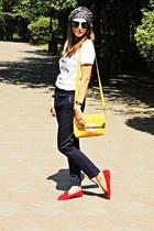 light brown turban DIY scarf - red Zara shoes - off white DIY t-shirt
