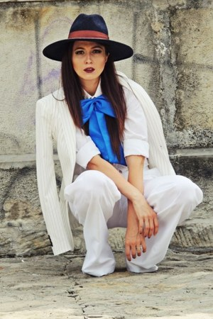 navy H&M hat - off white Zara blazer - off white flare custom made pants
