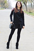 black tartan print Front Row Shop sweatshirt - black H&M boots