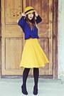 Navy-zara-blouse-yellow-stradivarius-skirt