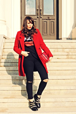 red Zara coat - black asos boots - black H&M jeans - ruby red Zara bag