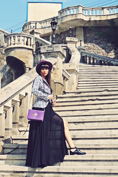 purple vintage hat - black Mart of China dress - black rosewe blazer
