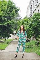 green jumpsuit Sheinside suit