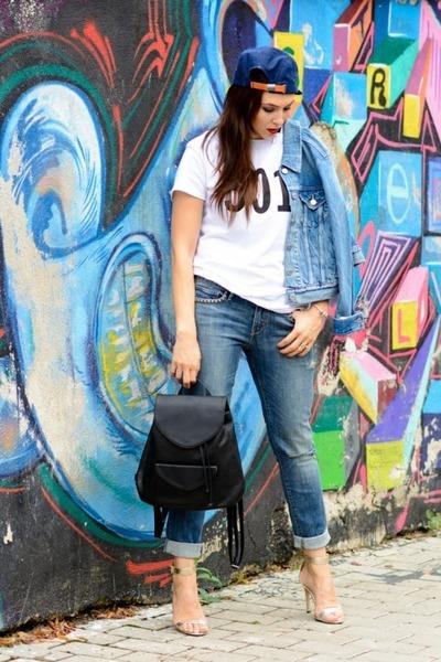 blue Levis jeans - blue Levis hat - blue Levis jacket - black Levis bag