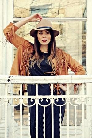 brown tassels rosewe jacket - gray Pimkie dress - light brown H&M hat