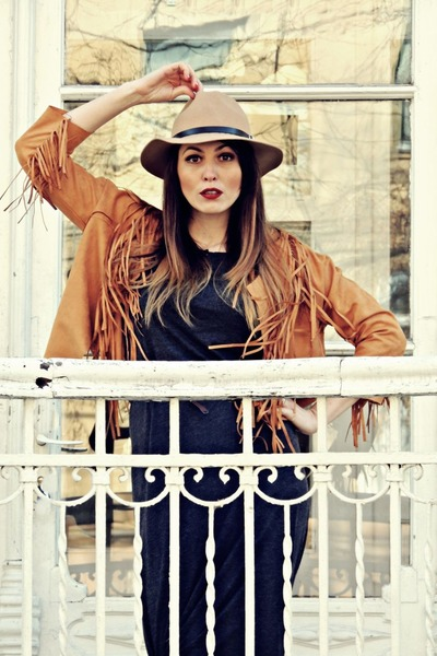 brown tassels rosewe jacket - gray Pimkie dress - light brown H&M hat