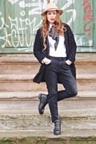 black Zara boots - black shein coat - black Zara jeans - camel H&M hat