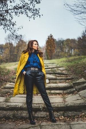 blue Yoins shirt - mustard zaful coat - black leather Zara pants