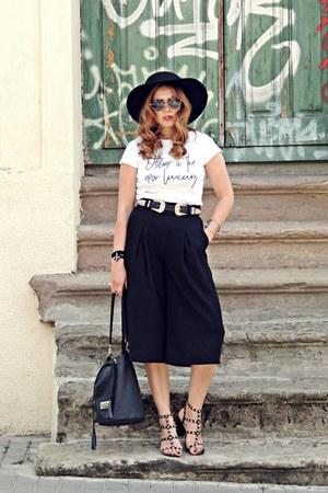 black culottes Zara pants - black zaful belt - black AmiClubWear sandals